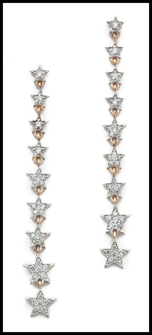 Kismet by Milka Heroine Long Star earrings with diamonds in rose gold.