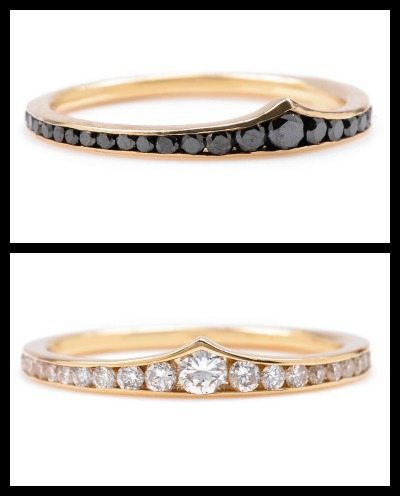 Lori McLean Wonder Woman's crown ring in black or white diamonds.