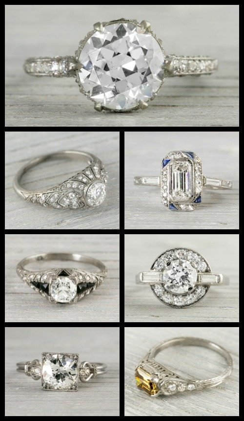 Ring roundup more Art Deco engagement rings.