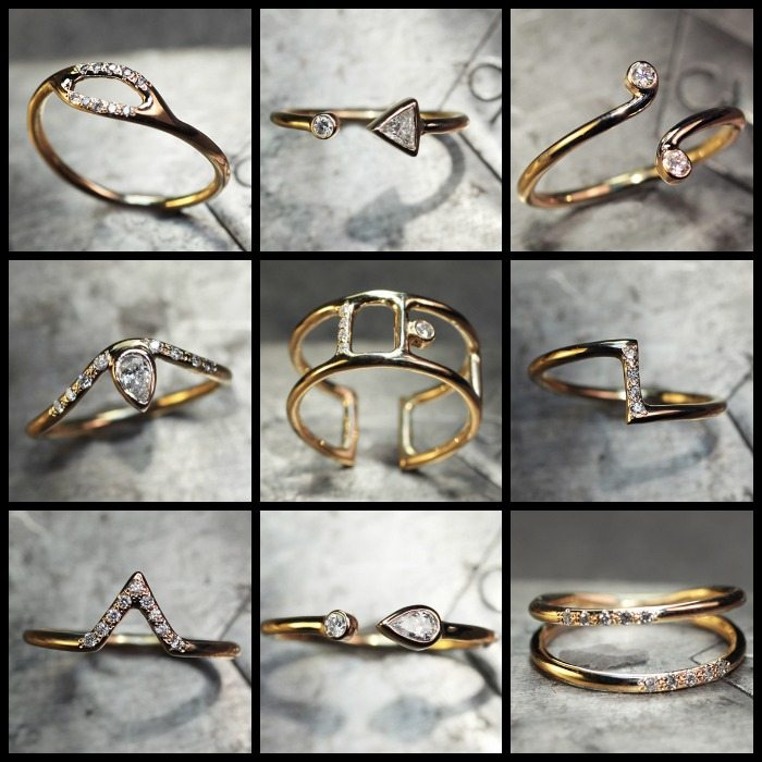 The ChincharMaloney Diamond Deco collection of yellow gold and diamond rings. Perfect for stacking or standing alone.