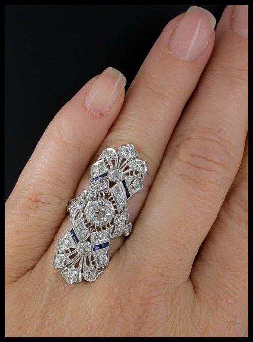 602dd513c A magnificent antique Art Deco dinner ring at Lang Antiques. Sapphires and  diamonds in platinum