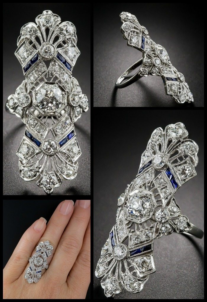 A spectacular antique Art Deco dinner ring at Lang Antiques. Sapphires and diamonds in platinum filigree, circa 1920s.