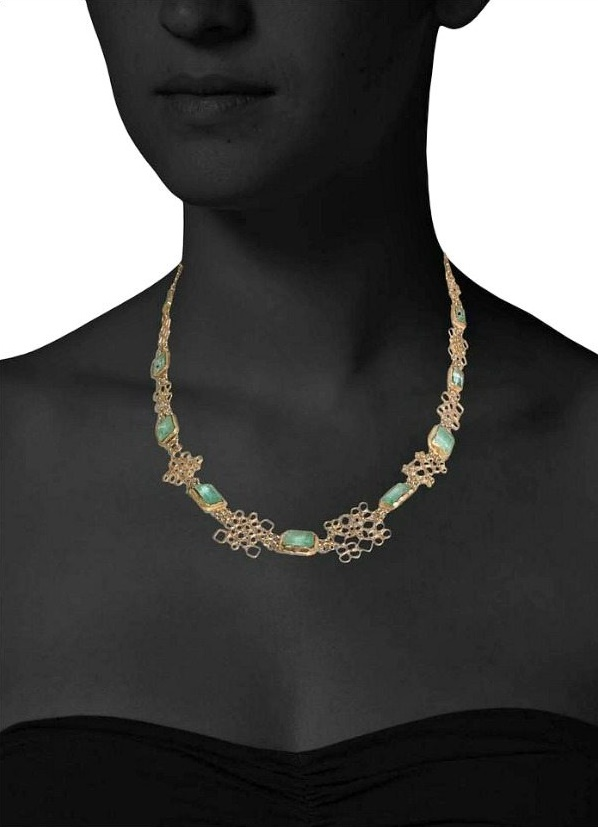 Alternate view of Judy Geib lacy emerald necklace in 18k yellow gold.
