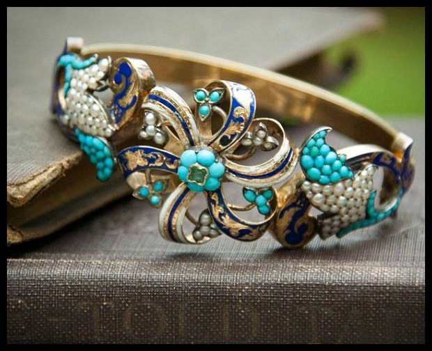 Antique turquoise and enamel bracelet from Trademark Antiques
