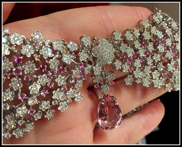 Detail shot of a Pasquale Bruni diamond and pink gemstone collar from the Field of Flowers collection