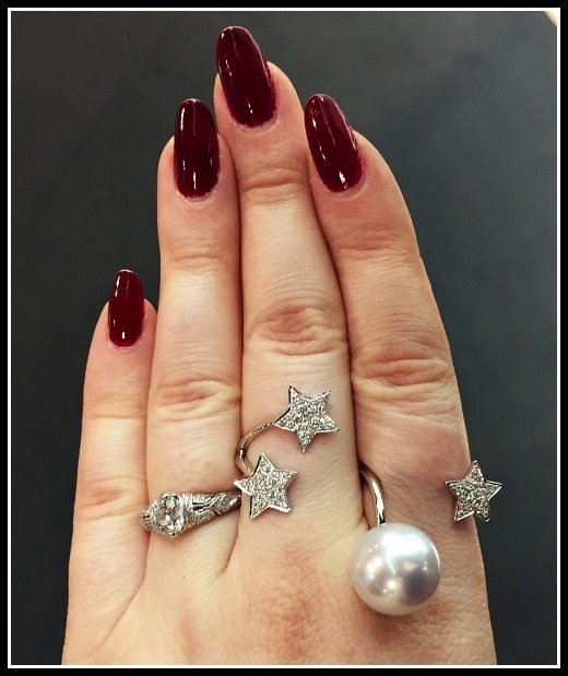 Diamond star and pearl ring by Yoko London