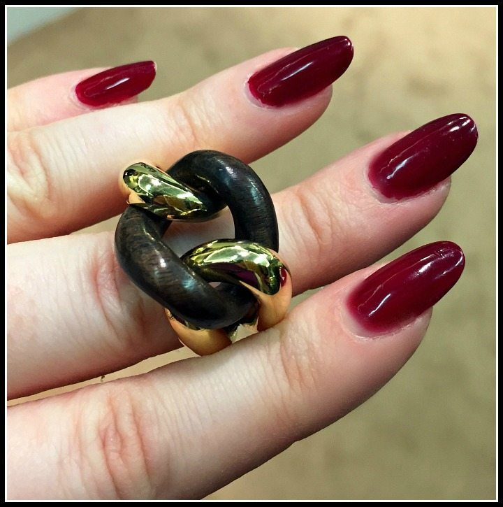 Gold and rosewood ring by Micheletto