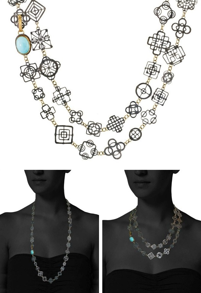 Judy Geib necklace; the very delicate silver Casino Royale necklace with turquoise and 14k gold