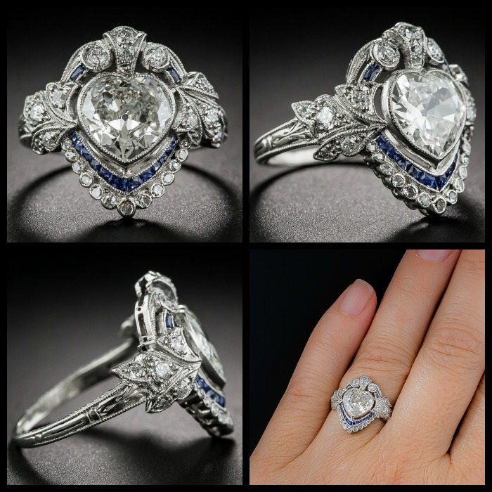 Multiple views of an Edwardian sapphire and diamond ring with a 1.20 carat heart shaped center diamond