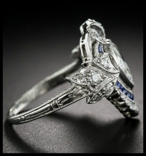 Side view of Edwardian sapphire and diamond ring with a 1.20 carat heart shaped center diamond