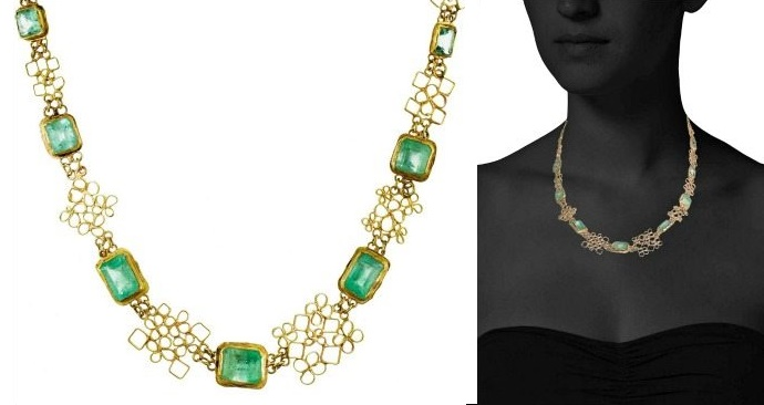 Two views of Judy Geib lacy emerald necklace in 18k yellow gold.