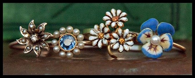 Vintage and antique conversion rings at Trademark Antiques. These beauties were originally stickpins.