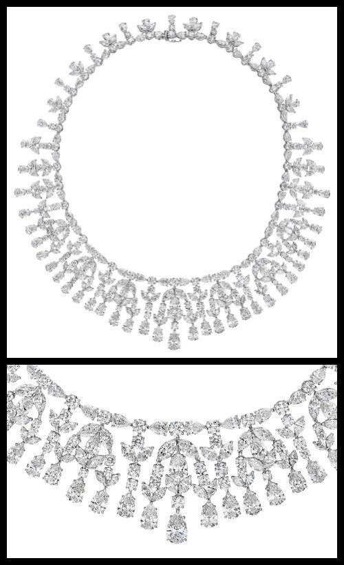 A magnificent diamond necklace; full view and detail