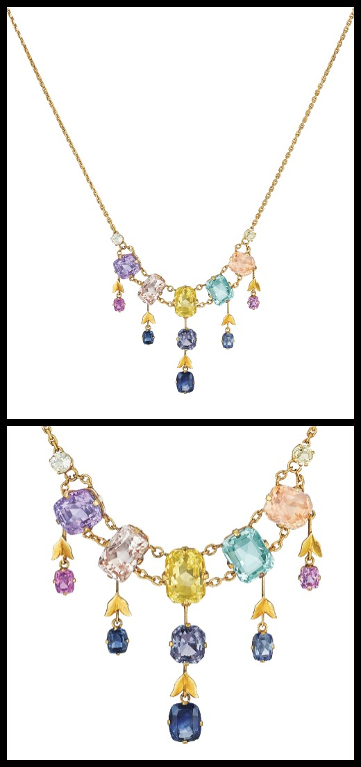 Lovely gold and gemstone necklace with sapphires, aquamarine, and spinel - full and detail views