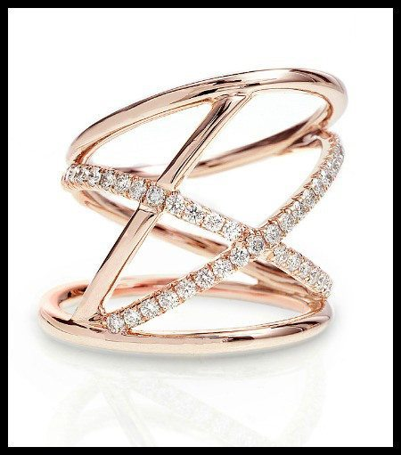 The Alyssa ring by Rachael Sarc – rose gold with diamonds.