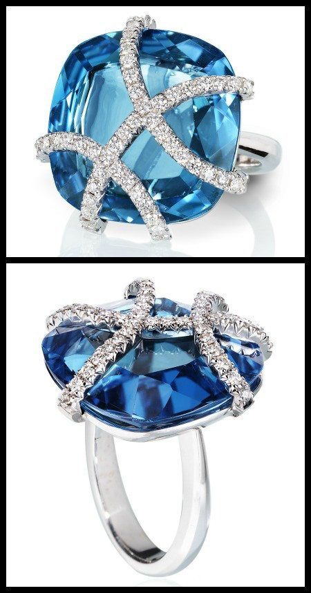The Cynthia Ring by Rachael Sarc – 18kt white gold blue topaz and white diamond pavè.
