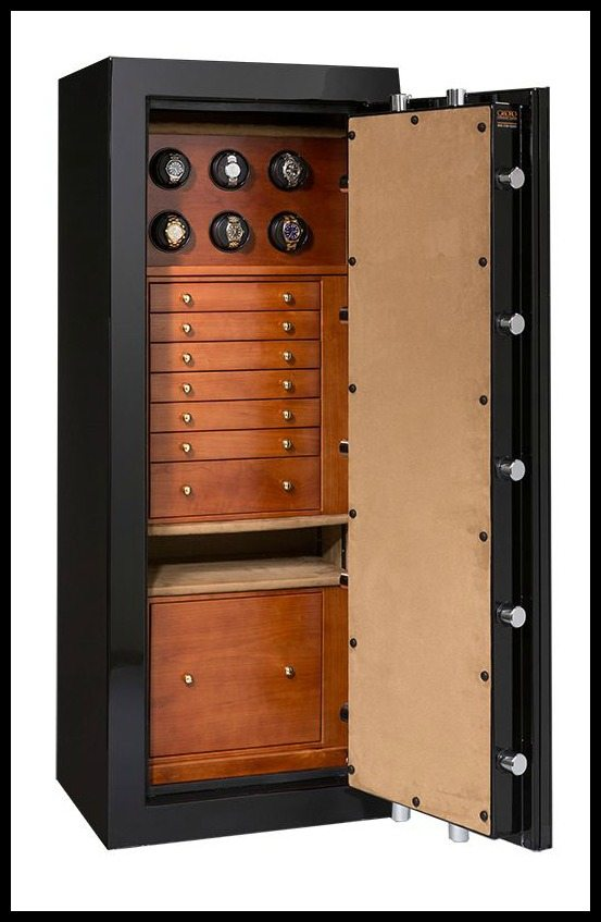 This custom Casoro jewelry safe is designed with watch collectors in mind; above the custom hardwood drawers is a section just for watches, fitted with high-quality watch winders.
