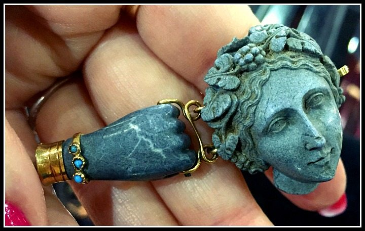 Incredible antique Victorian carved lava bracelet with gold and turquoise.