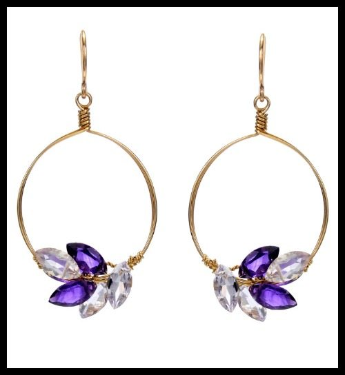 Misha of NY Circle Earrings with Amethyst Marquis Gems.