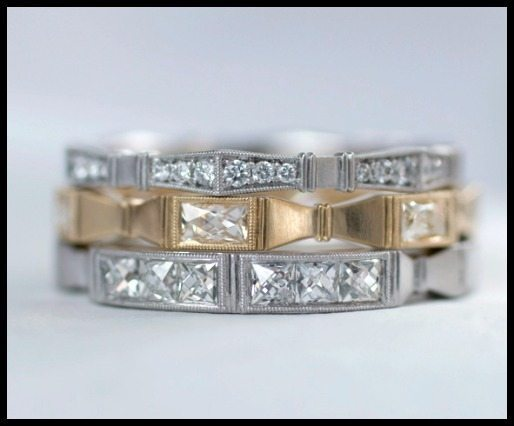 Three wedding bands from the Eriika Winters Fidelia collection