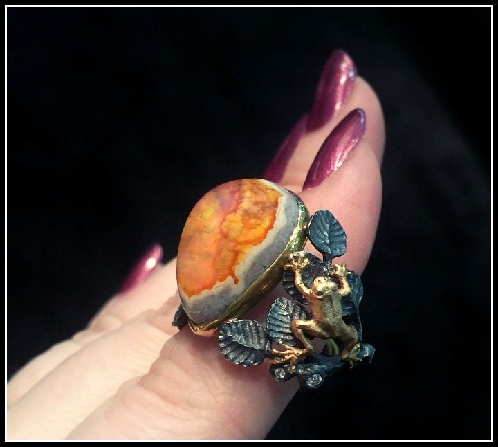 Anthony Lent tree frog ring with a Mexican fire opal.