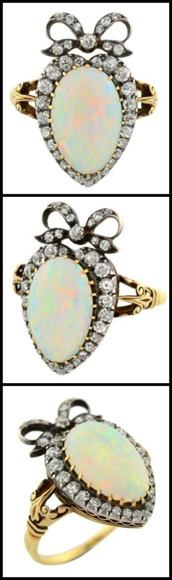 Victorian opal and diamond ring in 18k silver-topped-gold heart setting with a diamond-set bow; three views