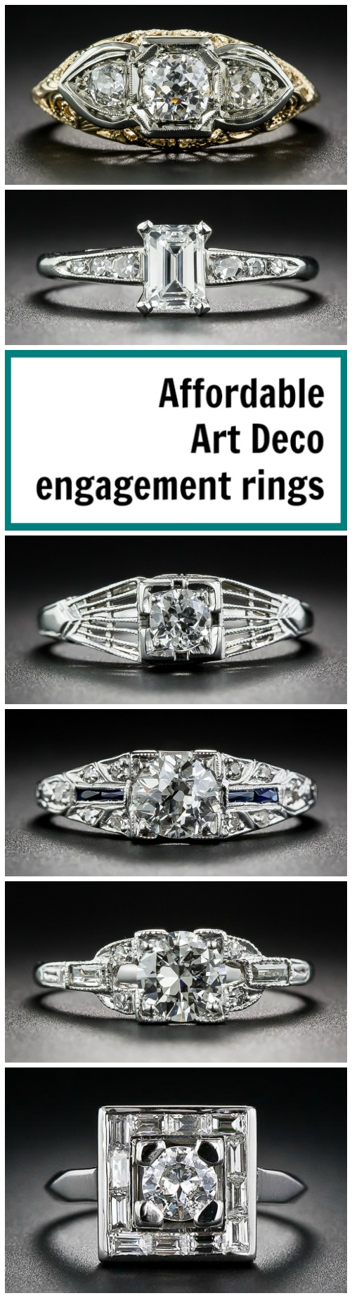 Affordable Art Deco engagement rings under $4,000