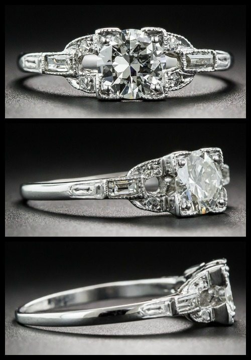 Antique Art Deco engagement ring with openwork details, baguette diamonds, and a bright-white European-cut diamond.