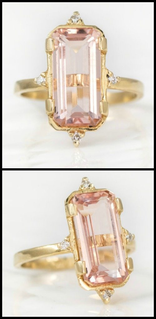 Emerald-cut morganite and diamond ring in gold from Melanie Casey.