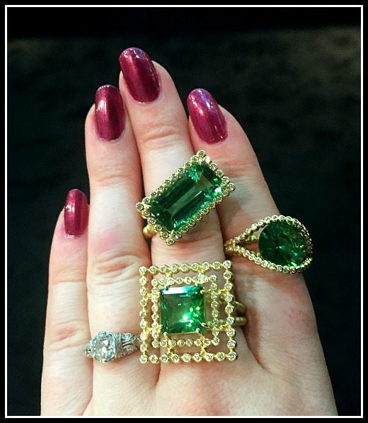Fabulous Suzy Landa tourmaline rings in gold.