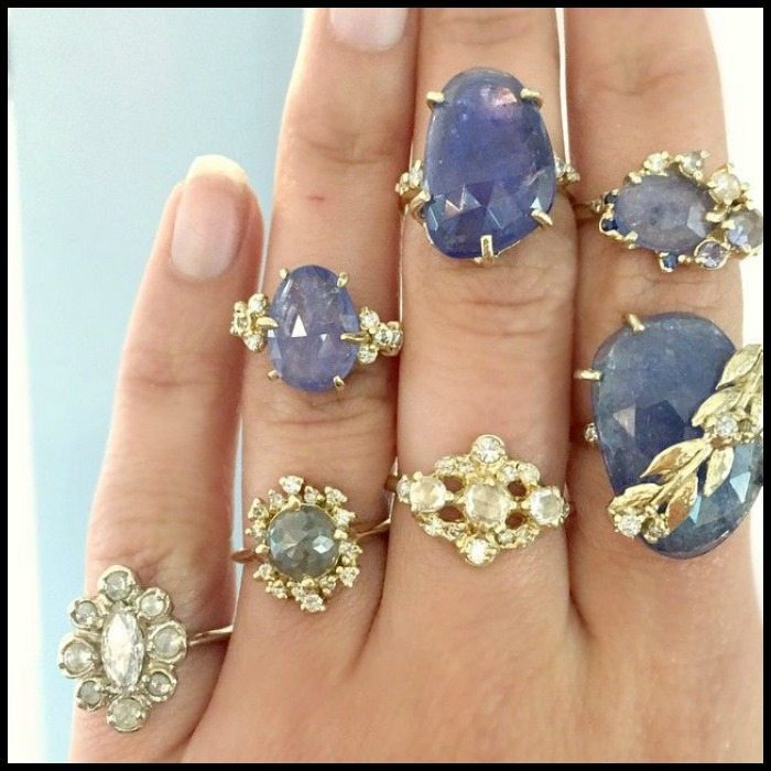 New pieces from Melanie Casey jewelry, featuring diamonds and tanzanite in yellow gold