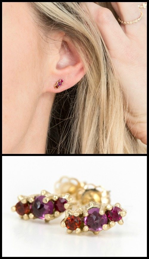 Ruby and garnet cluster stud earrings by Melanie Casey.