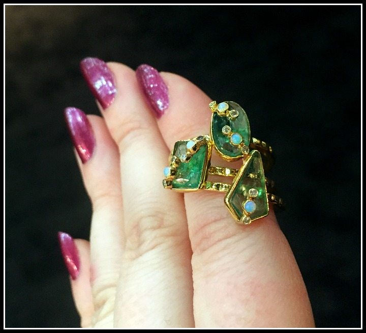 Three emerald rings from the Zaiken Jewelry Throwing Stones collection