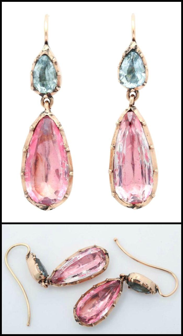 A dreamy pair of antique Georgian earrings of foiled-back design with aquamarines and pink topaz or pink crystal in 15k gold. Circa 1830.