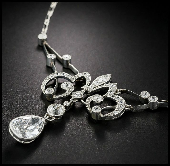 An antique French Belle Epoque diamond necklace with a 1.25 carat pear shaped diamond. Circa 1900. At Lang Antiques.