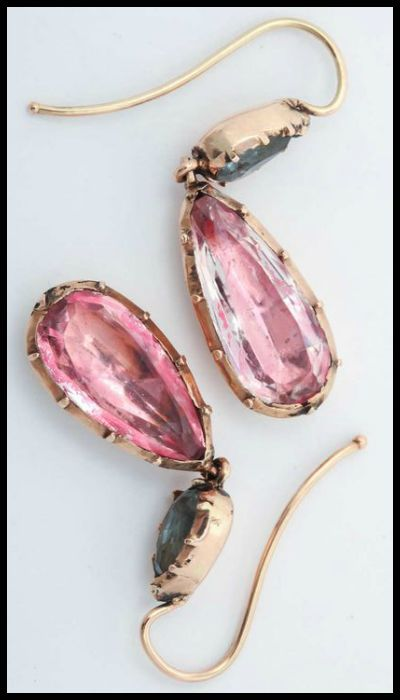 Antique Georgian earrings of foiled-back design with aquamarines and pink topaz or pink crystal in 15k gold. Circa 1830.