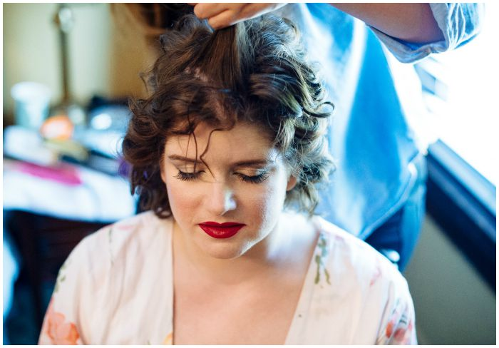 Being beautified for my wedding at the Vandiver Inn. Photography by Angel Kidwell.
