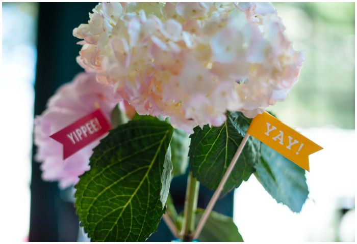 Cheerful flags in our wedding flowers. Photography by Angel Kidwell.