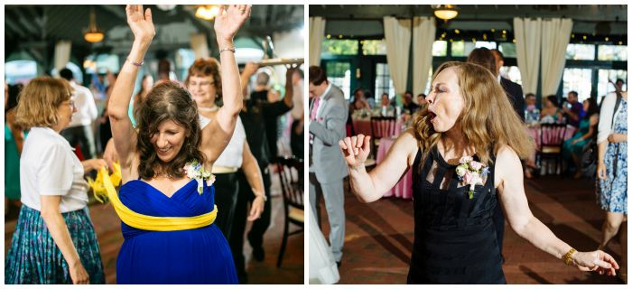 Mothers of the bride and groom getting into the swing of things on the dance floor. Photography by Angel Kidwell.