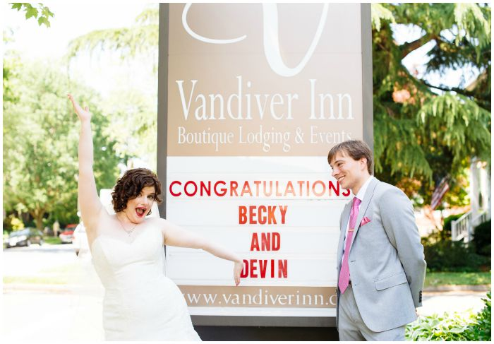 So excited to be at our wedding at the Vandiver Inn! Photography by Angel Kidwell.