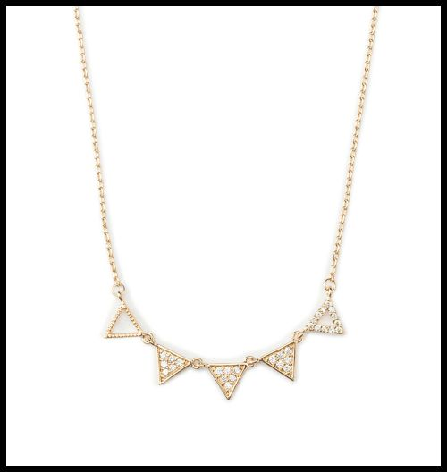 The Tidy Triangle Necklace in gold plate by Benique. Light, lovely, and stylish - this will be perfect with anything.
