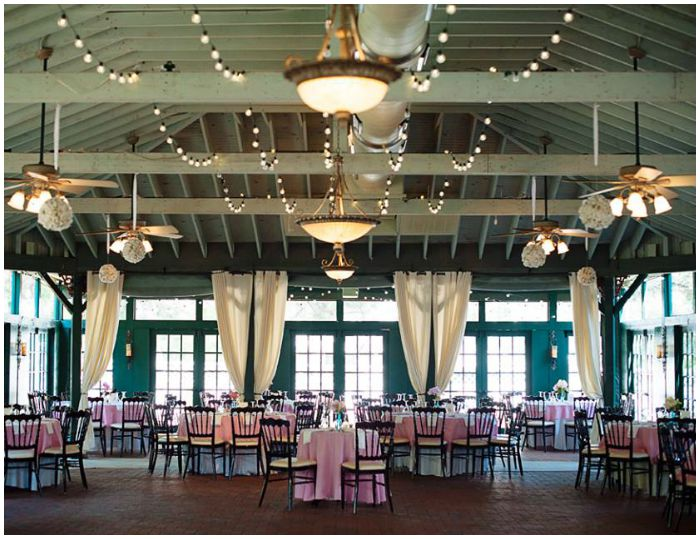 The reception pavilion at the Vandiver Inn, decorated in pink, gold, and turquoise for our wedding. Photo by Angel Kidwell.