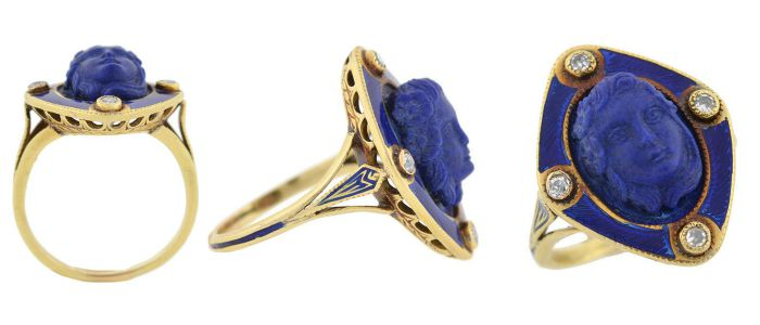A stunning Victorian carved lapis ring - I call her the Lady in Blue.