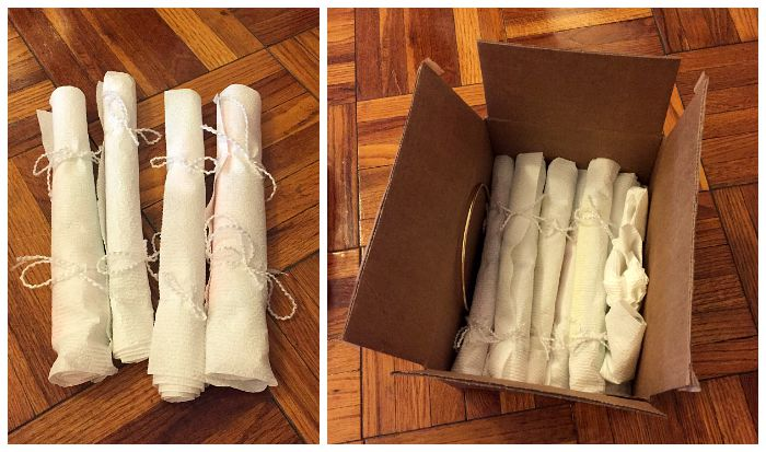 How to pack your jewelry for a move using plastic straws and paper towels for necklaces.