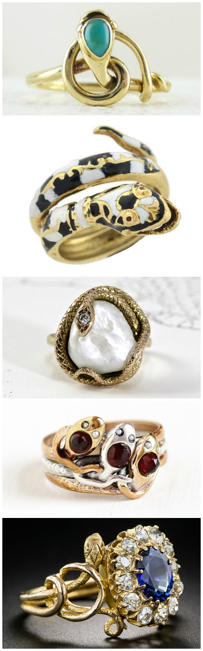 Ring roundup - beautiful antique (and vintage) snake rings, from the Victorian era to the 1970's.
