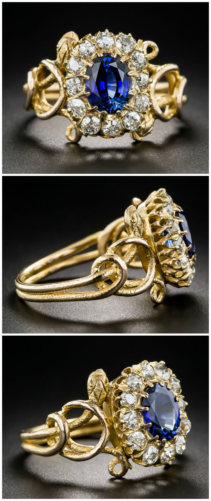 This antique snake ring from the Victorian era features a blue sapphire in a halo of diamonds, held by two twining, sinuous side serpents. At Lang Antiques.