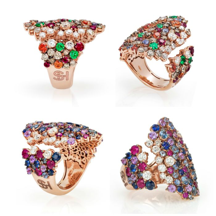 Two fabulous cocktail rings from the Stefan Hafner Pegaso collection. Diamonds and gemstones set in rose gold.