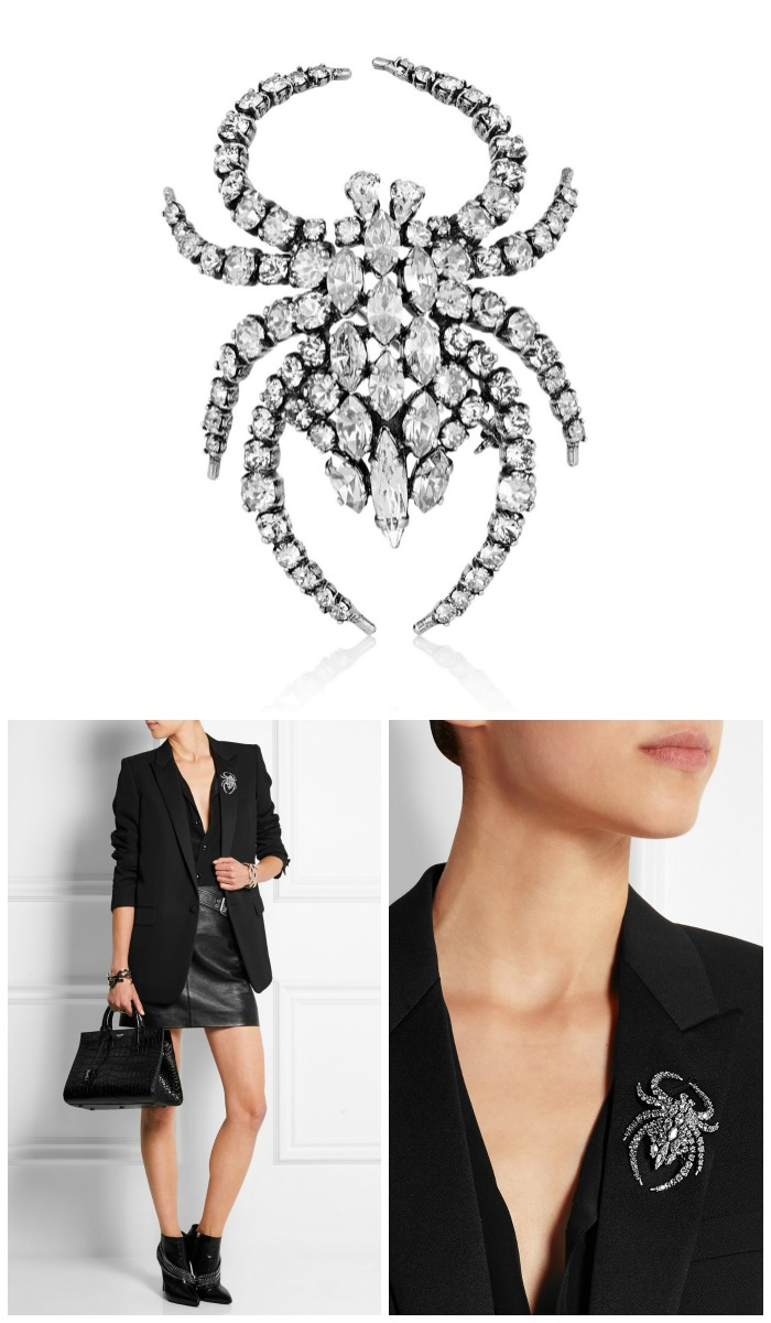 A beautiful, bold, Saint Laurent silver-plated crystal spider brooch