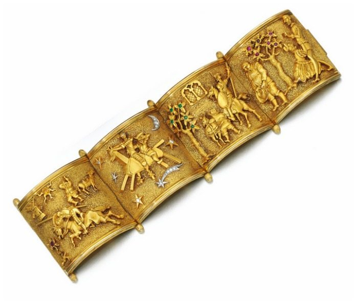 A fabulous bracelet from the 1950's that shows the scenes from the story of Don Quixote.