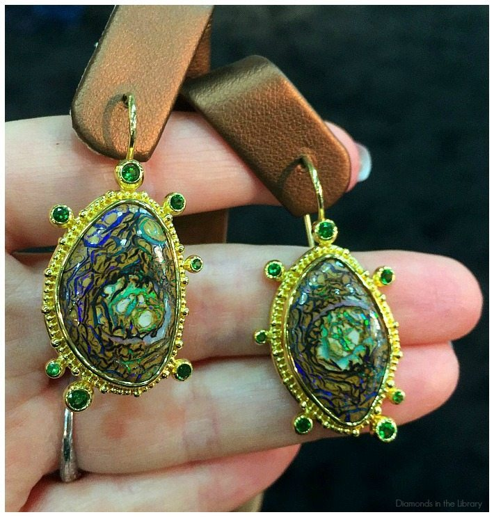 A pair of spectacular opal earrings by Zaffiro Jewelry